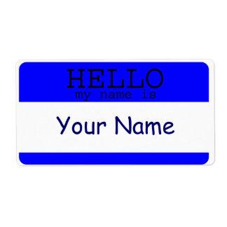 Étiquette Bonjour mon nom est modèle bleu d'étiquette