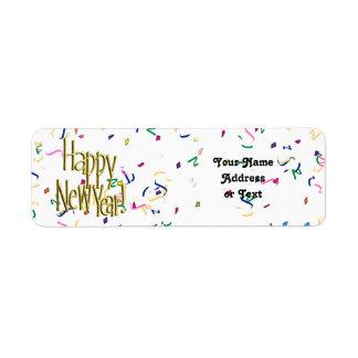Étiquette Bonne année - texte d'or sur les confettis blancs