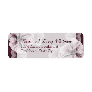 Étiquette Bourgogne riche avec les fleurs roses