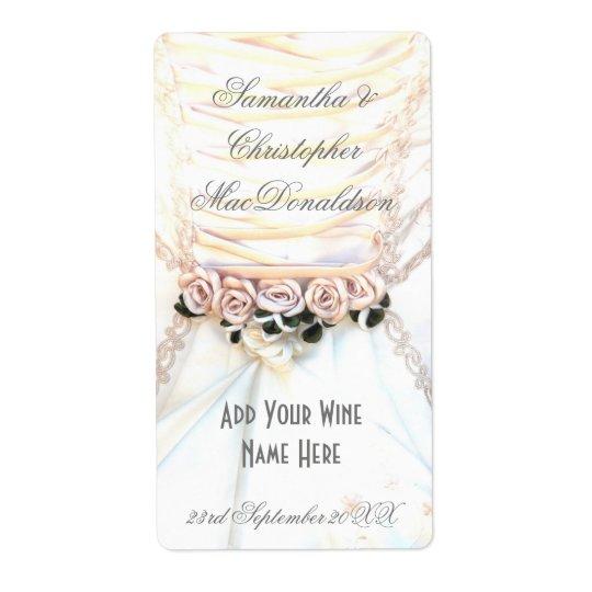 Étiquette Bouteille de vin florale de robe de mariage de