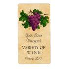 Étiquette Bouteille personnalisée par raisins vintages de