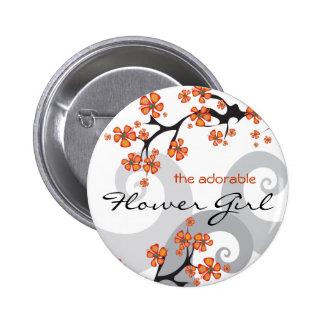 Étiquette bouton tropicaux de nom de mariage de re badge avec épingle