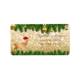 Étiquette Branches d'arbre de Noël, casquette de Père Noël