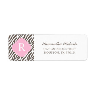 Étiquette Brown et monogramme rose de rayures de zèbre