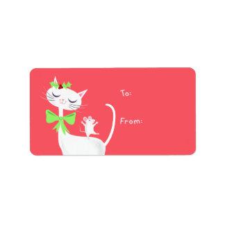 Étiquette Cadeau blanc de chat et de souris