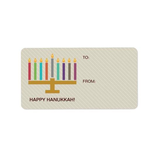Étiquette Cadeau coloré de Menorah Hanoukka