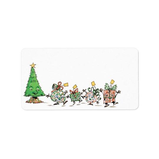 Étiquette Cadeaux de Noël et arbre mignons de danse de bande