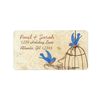 Étiquette Cage à oiseaux chanceuse de Brown d'oiseaux bleus
