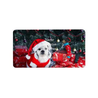 Étiquette Caniche père Noël - chien de Noël - chien du père