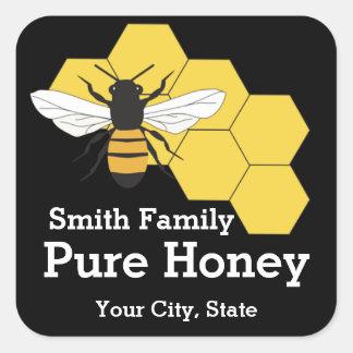 Étiquette carré de support de ferme d'abeille de