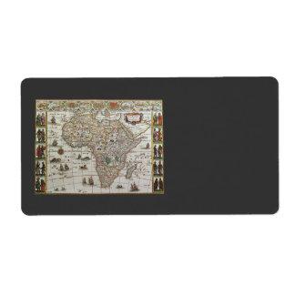 Étiquette Carte de Vieux Monde antique de l'Afrique, C. 1635