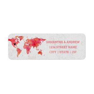 Étiquette Carte du monde d'aquarelle épousant l'adresse de