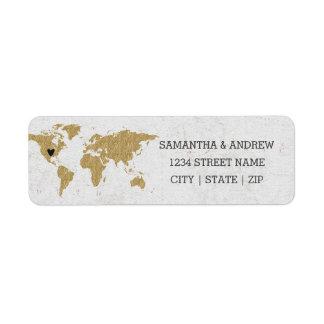 Étiquette Carte du monde de feuille d'or épousant l'adresse