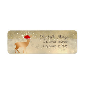Étiquette Casquette élégant de Père Noël de cerfs communs de