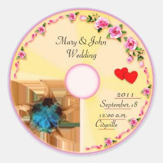 Étiquette CD de faveur de mariage d'étiquette Autocollants Ronds