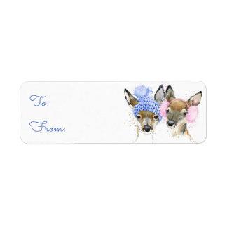 Étiquette Cerfs communs mignons d'hiver d'aquarelle