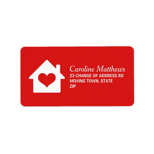 Étiquette Chambre avec le coeur sur l'arrière - plan rouge