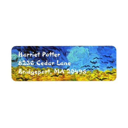 Étiquette Champ de blé avec des beaux-arts de Van Gogh de