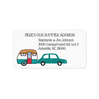 Étiquette Changement d'adresse de voiture et de campeur de