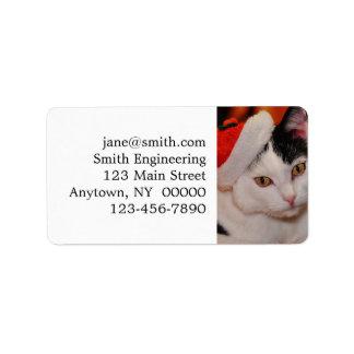Étiquette Chat du père noël - Joyeux Noël - choyez le chat