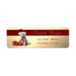 Étiquette Chat élégant avec le casquette de Père Noël,