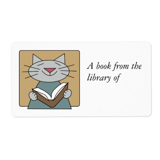 Étiquette Chat lisant un livre