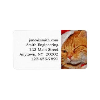 Étiquette Chat orange - chat du père noël - Joyeux Noël