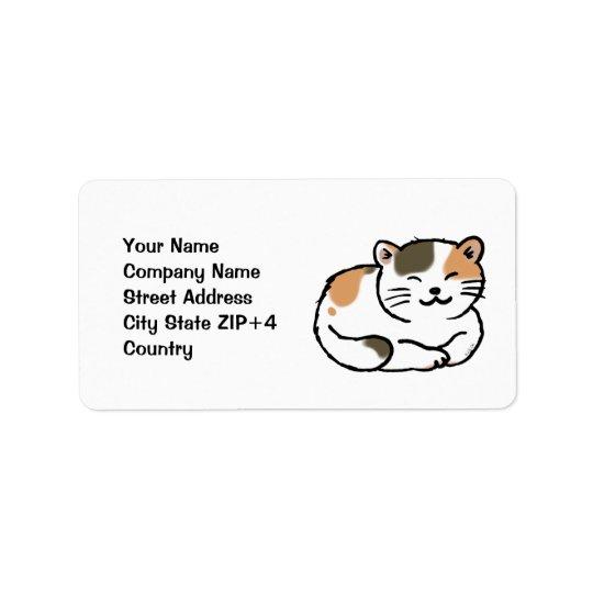 Étiquette chat orange et noir de calicot pelucheux mignon