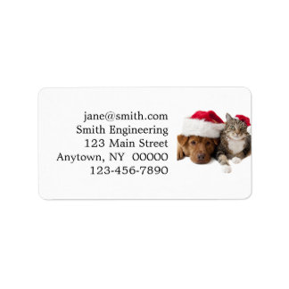 Étiquette Chats et chiens - chat de Noël - chien de Noël