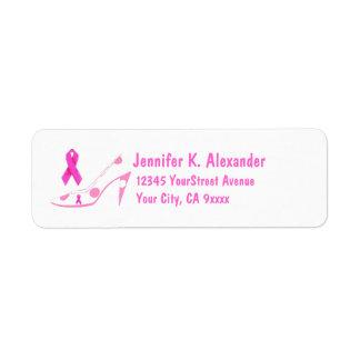 Étiquette Chaussure rose de cancer du sein de ruban