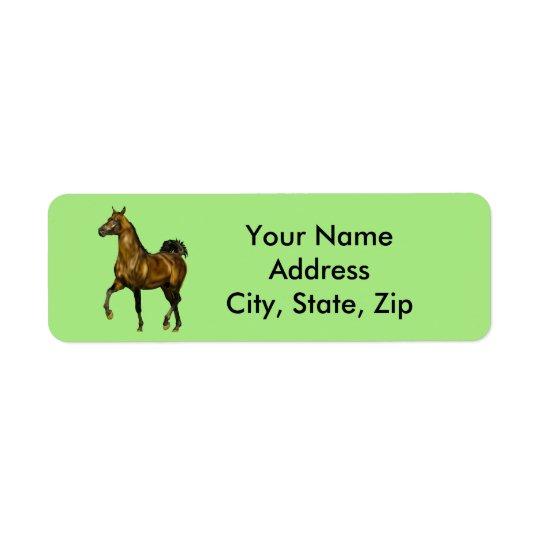 Étiquette Cheval d'Arabe de baie