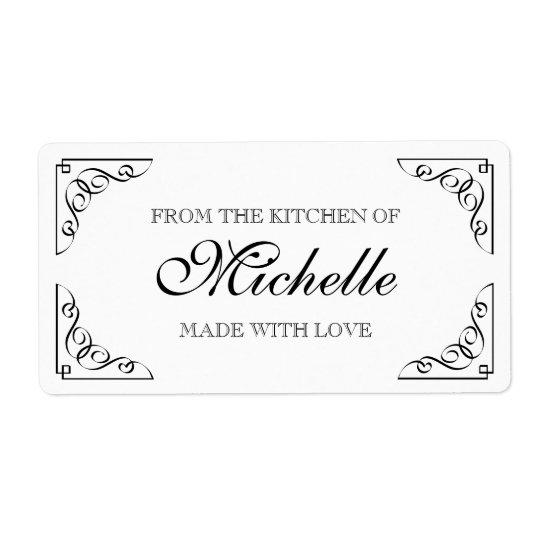Étiquette Chic fait avec amour à partir de la cuisine de