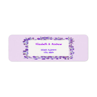 étiquette chic floral de cadre pourpre de fleur