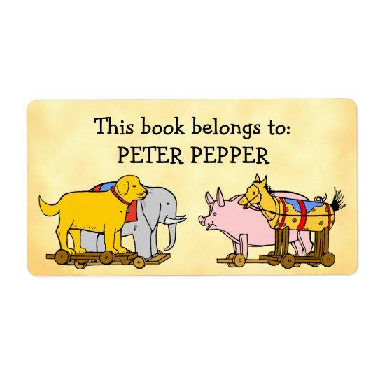 Étiquette Chien, cheval et porc de jouet vintage d'ex-libris