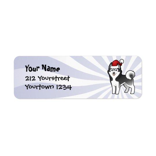 Étiquette Chien de traîneau sibérien de Noël/Malamute