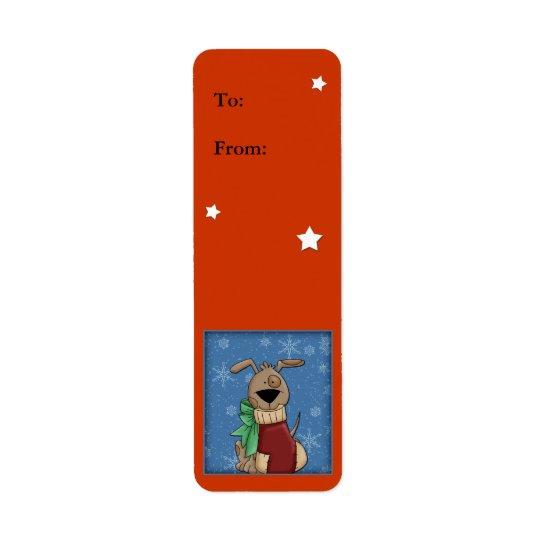 Étiquette Chien drôle avec le bas de Noël