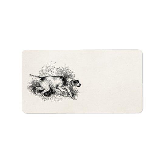Étiquette Chiens vintages d'indicateurs de 1800s de chien de