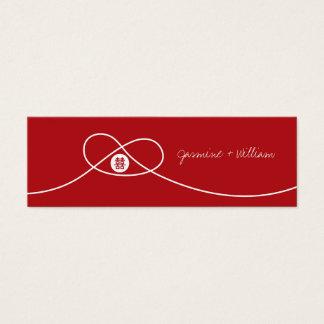Étiquette chinoise de cadeau de mariage de noeud mini carte de visite