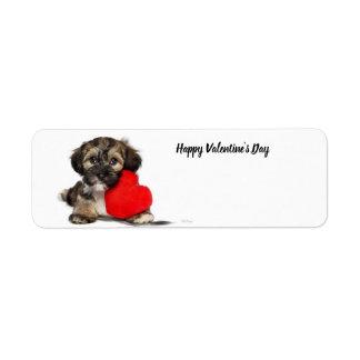 Étiquette Chiot de heureuse Sainte-Valentin