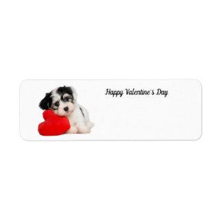 Étiquette Chiot mignon de heureuse Sainte-Valentin