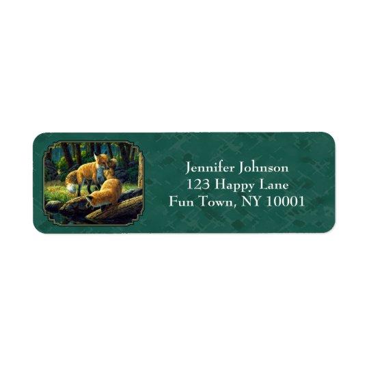 Étiquette Chiots mignons de Fox jouant Forest Green