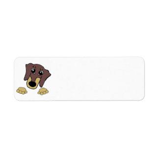 Étiquette chocolat de bande dessinée de teckel et jeter un