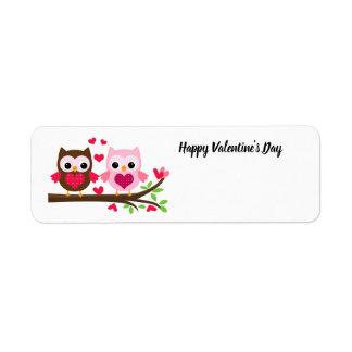 Étiquette Chouettes épervières de heureuse Sainte-Valentin