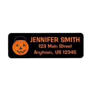 Étiquette Citrouille orange noir Halloween de des bonbons ou