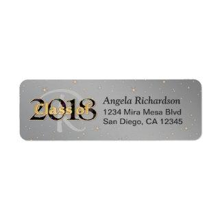 Étiquette Classe de la typographie 2018 d'or de monogramme