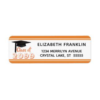 Étiquette Classe rayée orange de couleur Editable de 20XX  
