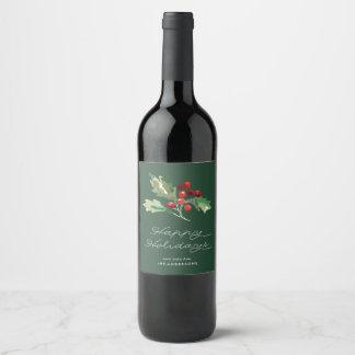 Étiquette classique de vin de baie de houx