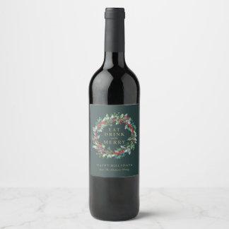 Étiquette classique de vin de guirlande de