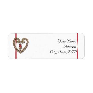 Étiquette Coeur celtique avec un rose rouge