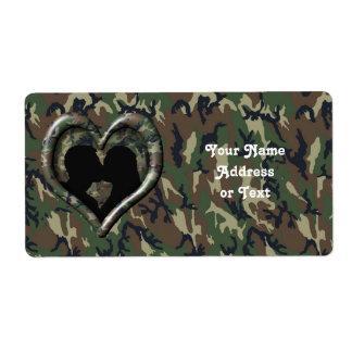 Étiquette Coeur de camouflage avec les couples de baiser